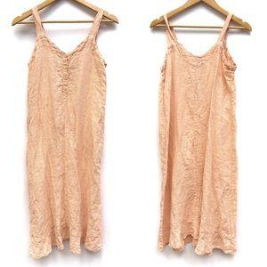 FLAX Woven Linen Sleeveless Midi Slip Sun Dress